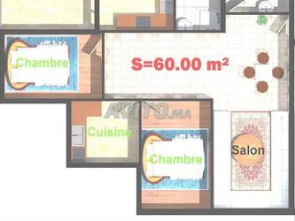 appartement 60m2 résidence piscine à sidi bouzid