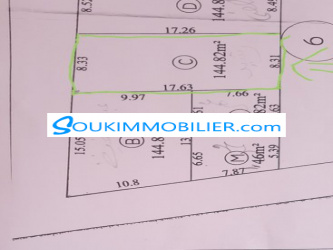 terrain a vendre de 145m²